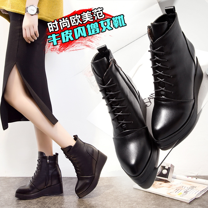 52.83$  Buy now - http://alibkx.worldwells.pw/go.php?t=32781512952 - 2017 new winter boots leather shoes with pointed slope with increased warm cotton cashmere boots boots 52.83$