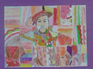 Photo of Pastel and pencil mosaic portrait of Henry VIII created during a history project…