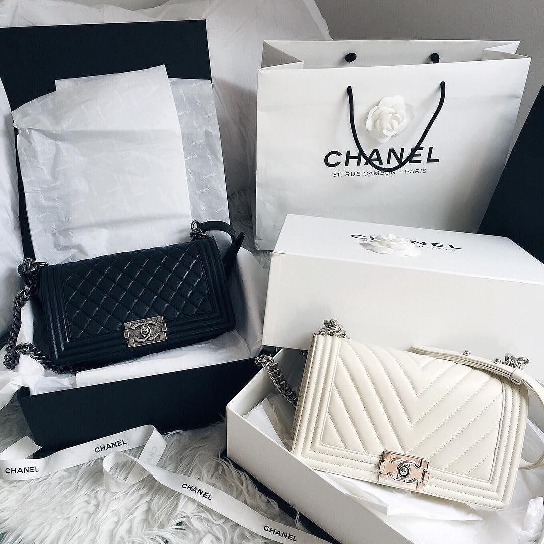8e22fd84fe29 Black Chanel Quilted Boy Bag and White Chanel Chevron Boy Bag @  fashioninmysoul