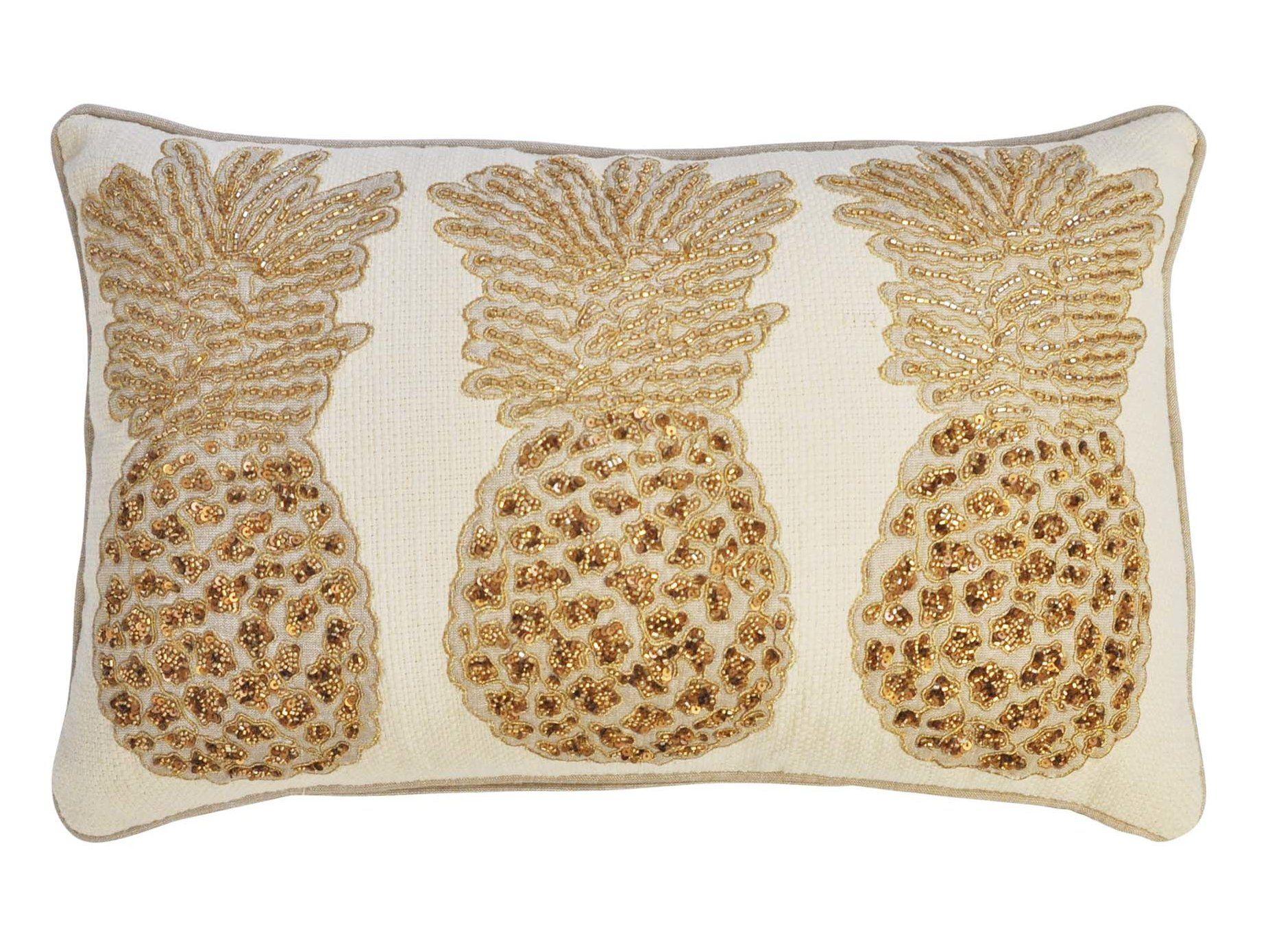 Primrose 3 Pineapples 100 Cotton Lumbar Pillow Throw