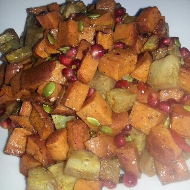 Roasted Sweet Potato and Celery Root Salad. Preheat oven to 375f and line a baki...