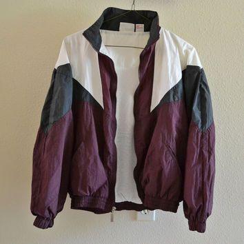 Red Gray White Windbreaker Jacket Vintage 90s Oversized L