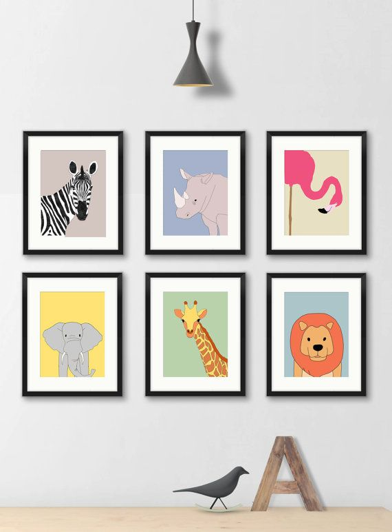 Safari Animal Nursery Wall Decor Prints Set Of 3 Neutral Etsy Flamingo Art Print Kids Art Prints Art Wall Kids