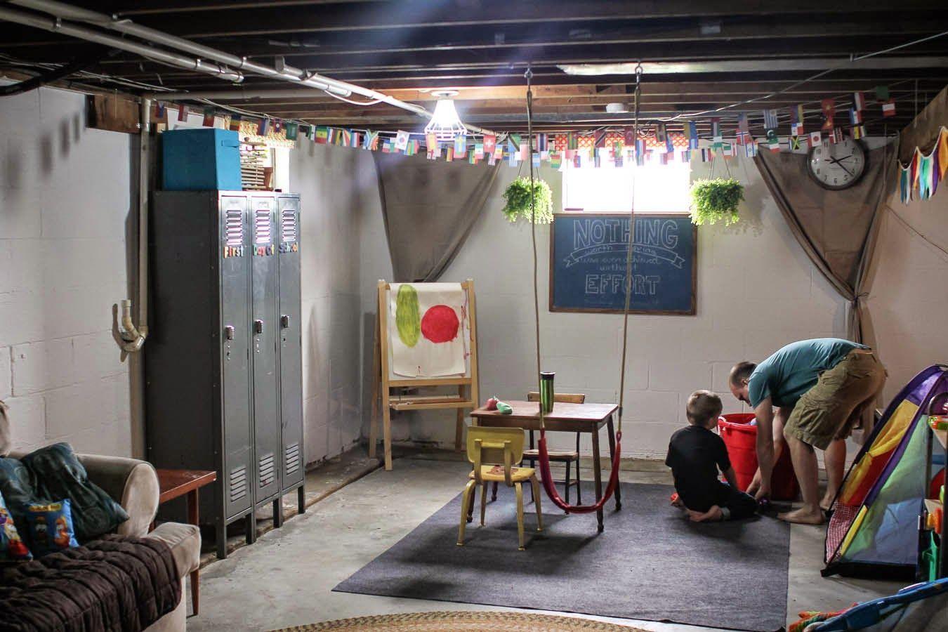 homeschool classroom in unfinished basement with lockers #basementclassroom in 2020   Homeschool rooms. Unfinished basement bedroom. Unfinished ...