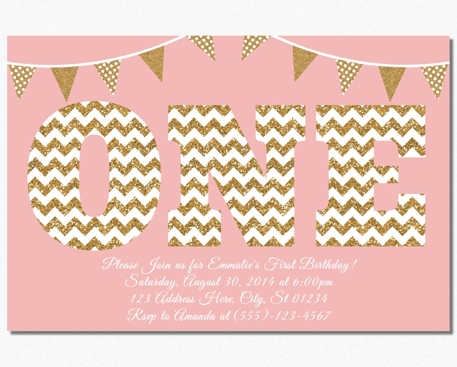 First birthday invitation blush pink and gold 1st birthday first birthday invitation blush pink and gold 1st birthday invitations by puggyprints on etsy https filmwisefo