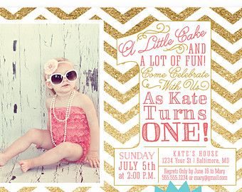 Girl First Birthday Invitation Photo Card - Gold Glitter Hot Pink CUSTOM COLOR Chevron Dot Stripes - Big One - Printable 1st Party Invite