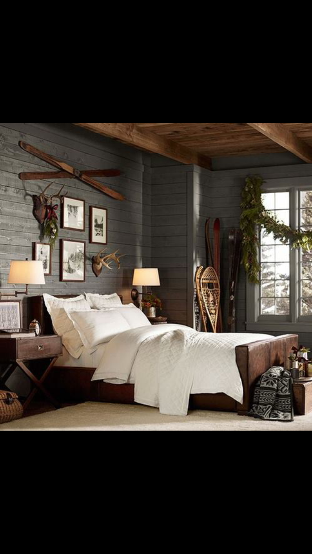 Mix Of Gray Was And Natural Wood On Ceiling Rustic Bedroom Decor Rustic Bedroom Cabin Bedroom