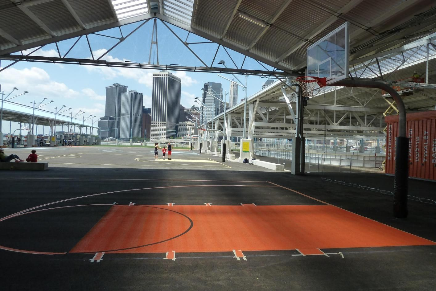 Point Shoot And Score At One Of Five Basketball Courts On Pier 2 Including Two Covered Courts Home Basketball Court Basketball Basketball Park