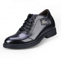 black trendy business casual height shoes gain taller 7cm