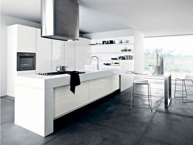 Moderne minimalistische Küche komplett in Weiß Mehr küche - küche mit side by side kühlschrank