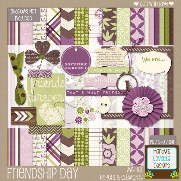 Friendship Day August 3, 2014 | Exclusive Newsletter  Freebie | Digital Scrapbooking Kit | Purple, Green, Pink, Brown
