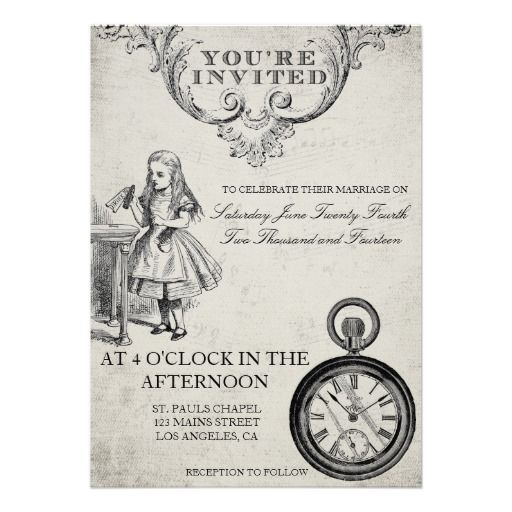 Alice in Wonderland Wedding Invitation BY THE ANTIQUE CHANDELIER completely customize to fit your own wedding http://www.zazzle.com/alice_in_wonderland_wedding_invitation-161989063990540010?rf=238589399507967362