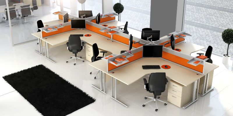 Open plan office desks google search lifeline shop for Office desk layout ideas
