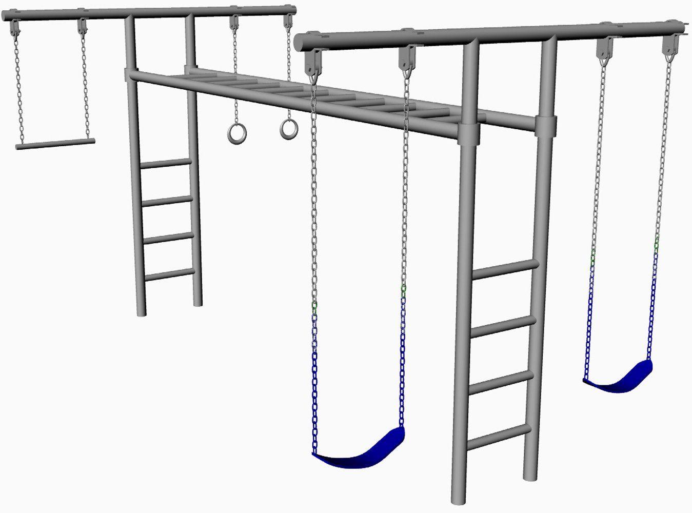 hl 50 8 foot tall heavy duty swing set adjustable monkey bars 2