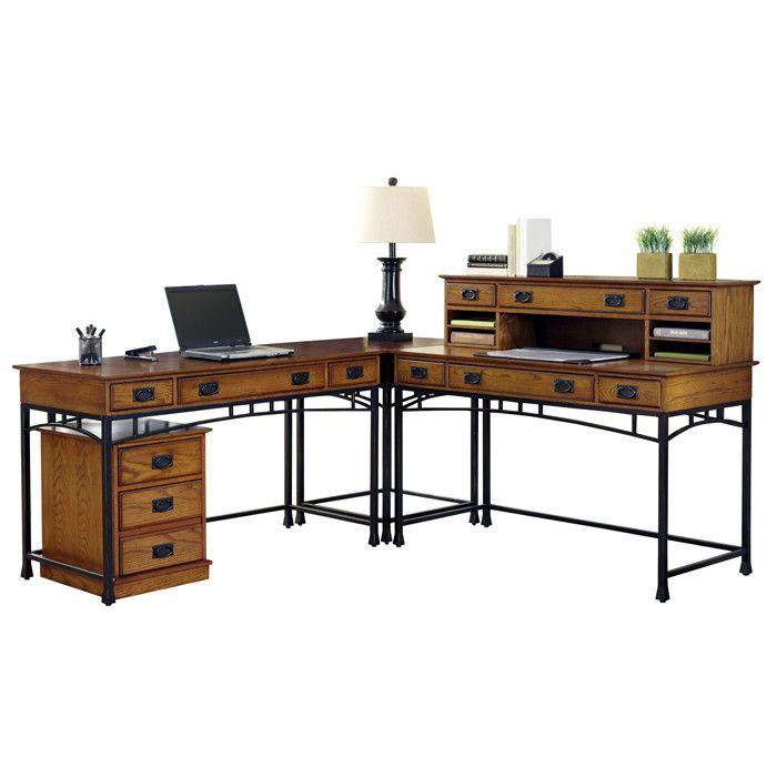 2 Piece Craftsman L Shaped Desk File Cabinet Set House Styles
