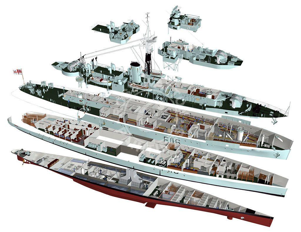 HMS Amethyst cutaway Ship Schematics Cutaways