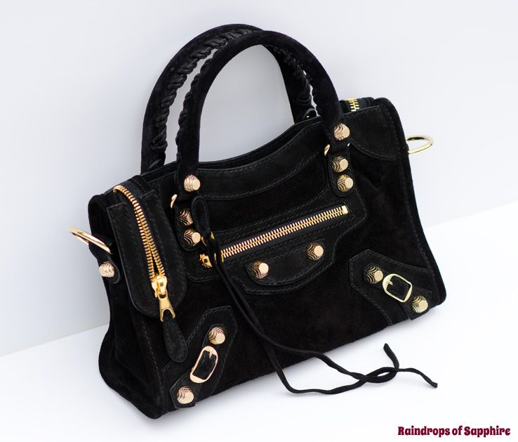 Balenciaga Mini City Baby Diam Black Suede Bag