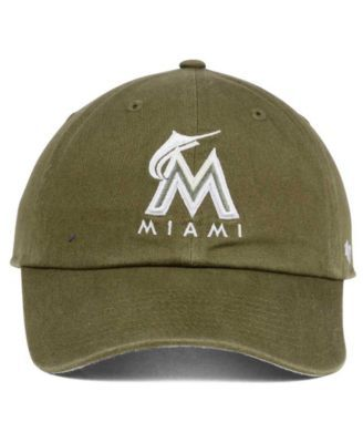 '47 Brand Miami Marlins Olive White Clean Up Cap - Green Adjustable