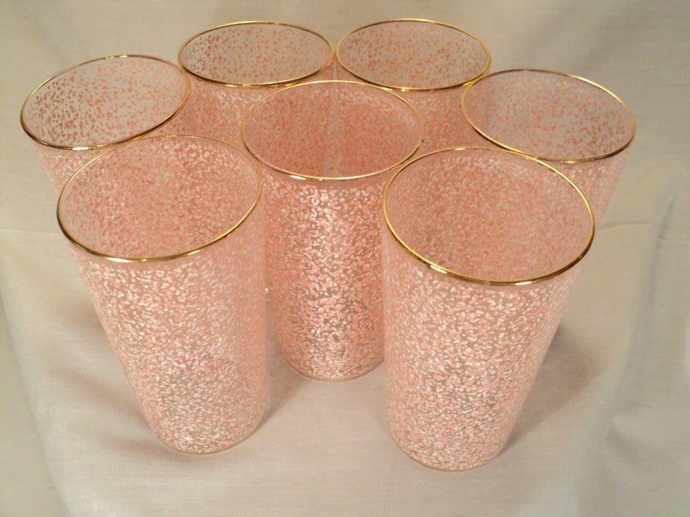Mid-century glassware set of 7 vintage pink speckled confetti glasses 1950s. $40.00, via Etsy.
