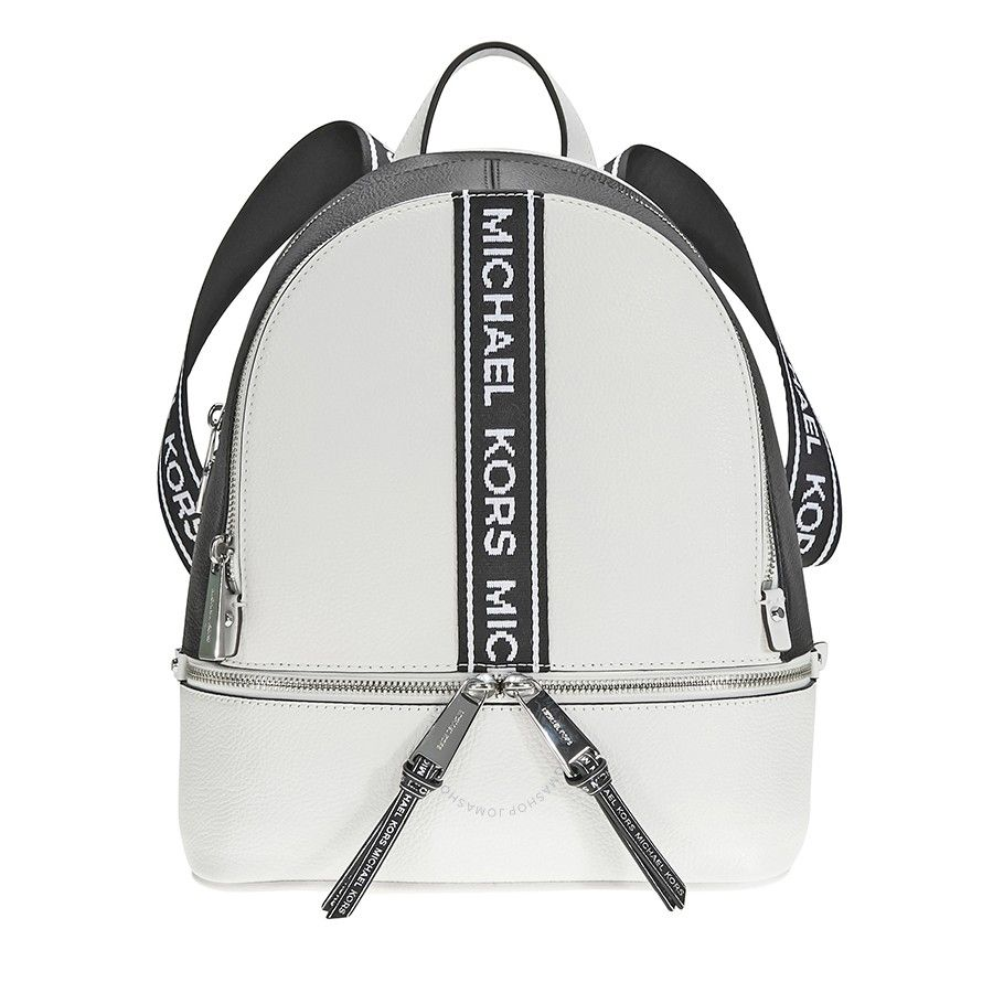 91f972011263 Shop for Rhea Medium Pebbled Leather Backpack - Optic White   Black by Michael  Kors at