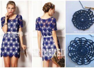 More Knitting Wheel Fashions : Crochet wheel motif lace dress free pattern & tutorial