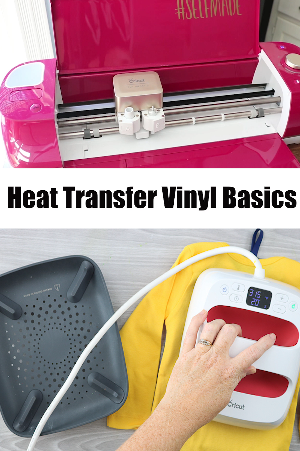 If you are confused about Heat Transfer Vinyl, this is the only post you need! Includes video as well as step by step instructions for cutting, weeding, and applying iron-on to all of your shirts and so much more! This is a great beginner's guide for new Cricut users! #cricut #cricutbeginner #heattransfervinyl #htv #ironon #basics #video #cricutvideo #cricuthowto #cricuttutorial #cricutbasics #crafts #diy #howto #tutorial #easypress #cricuteasypress