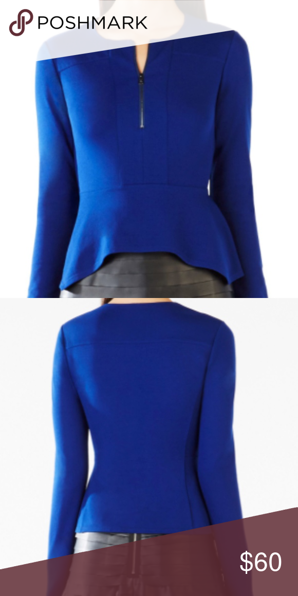 be001cd60485dc BCBGMAXAZRIA JAYNIE LONG SLEEVE PEPLUM TOP SIZE S (FITS MORE LIKE AN XS), DEEP  ROYAL BLUE, PONTE KNIT, LOOKS GREAT WITH JEANS OR A BLACK PENCIL SKIRT FOR  ...