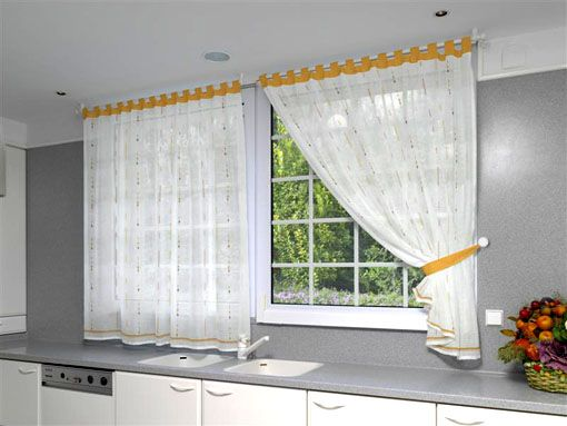 Cortinas para ventanas de cocina mi casa pinterest for Cortinas blancas modernas