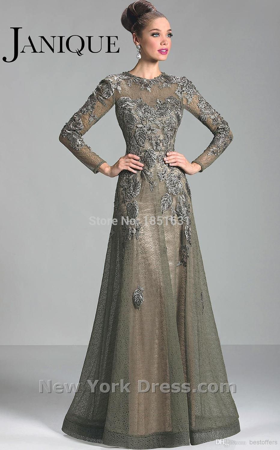 mother of the bride dresses aline long sleeves tulle lace gray