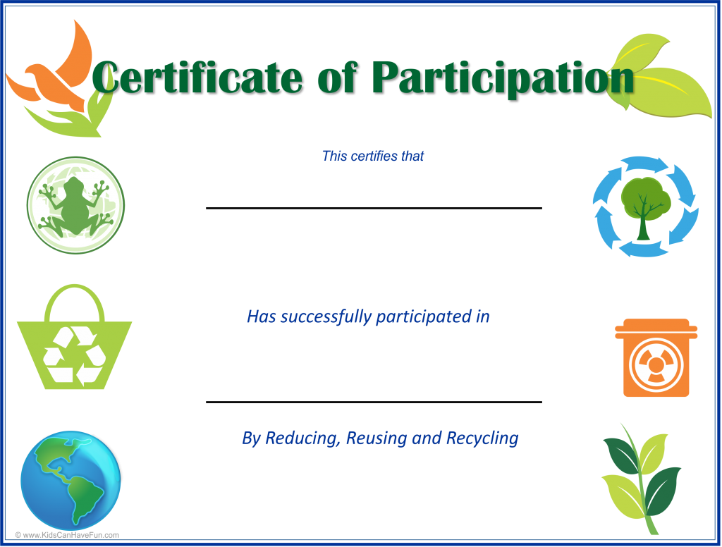 Eco Kids Earth Day Certificates