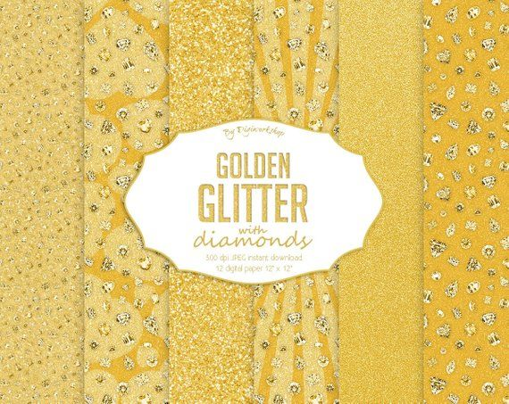 Gold Glitter Digital Paper: Gold Glitter with Diamonds set includes shining glitter textures with diamonds in golden tones