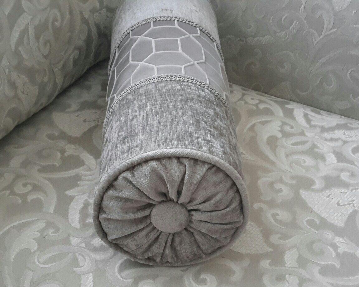 Elegant Gray Velvet Decorative Bolster Pillow Size 17 In