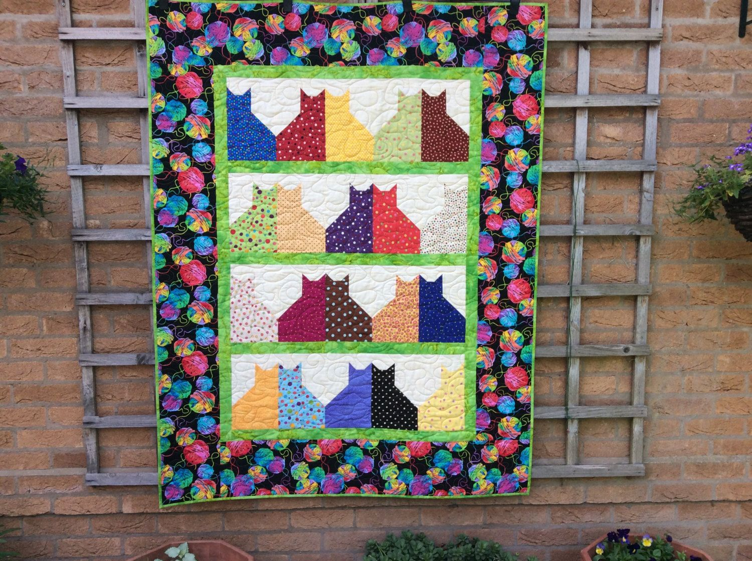 Handmade cat quilt patchwork quiltrowhome decoreaster gift handmade cat quilt patchwork quiltrowhome decoreaster gift modern negle Choice Image