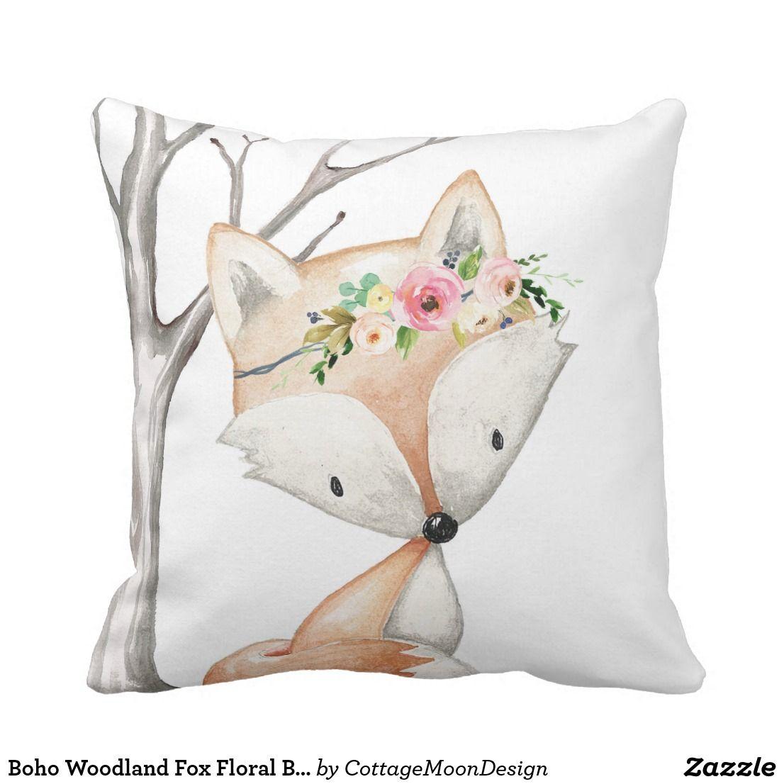 Boho Woodland Fox Floral Birl Nursery Throw Pillow Zazzle Com Nursery Throw Pillows Tribal Baby Nursery Throw Pillows