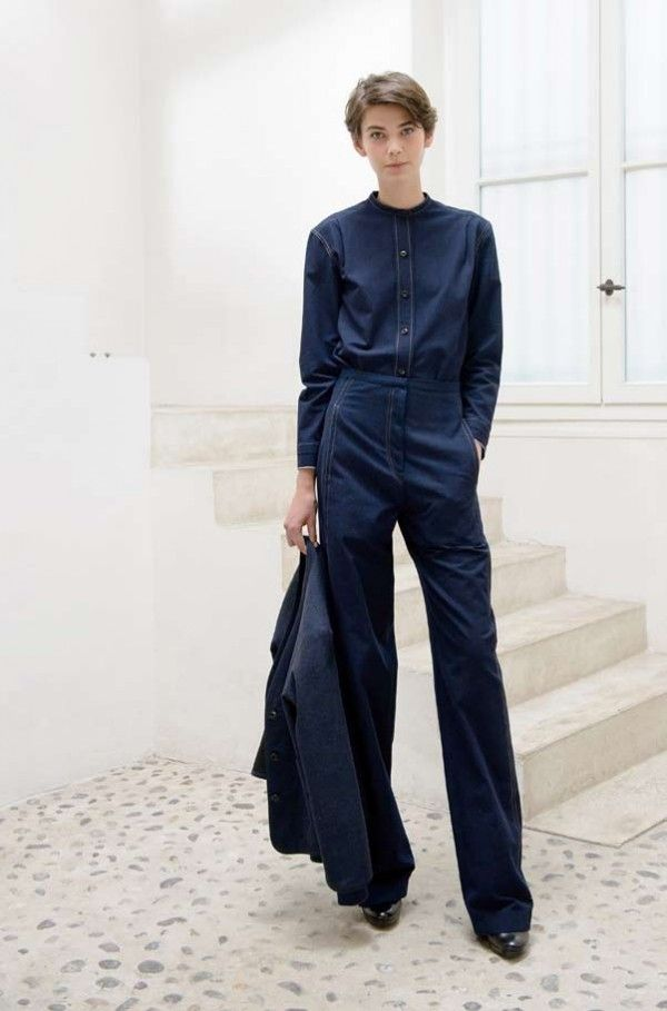 Christophe Lemaire S/S 14, blue shirt, blue pants, blue jacket