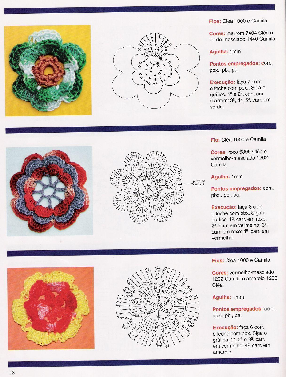 Flores varias 2 crochet patrones | FLORES Y HOJAS | Pinterest ...