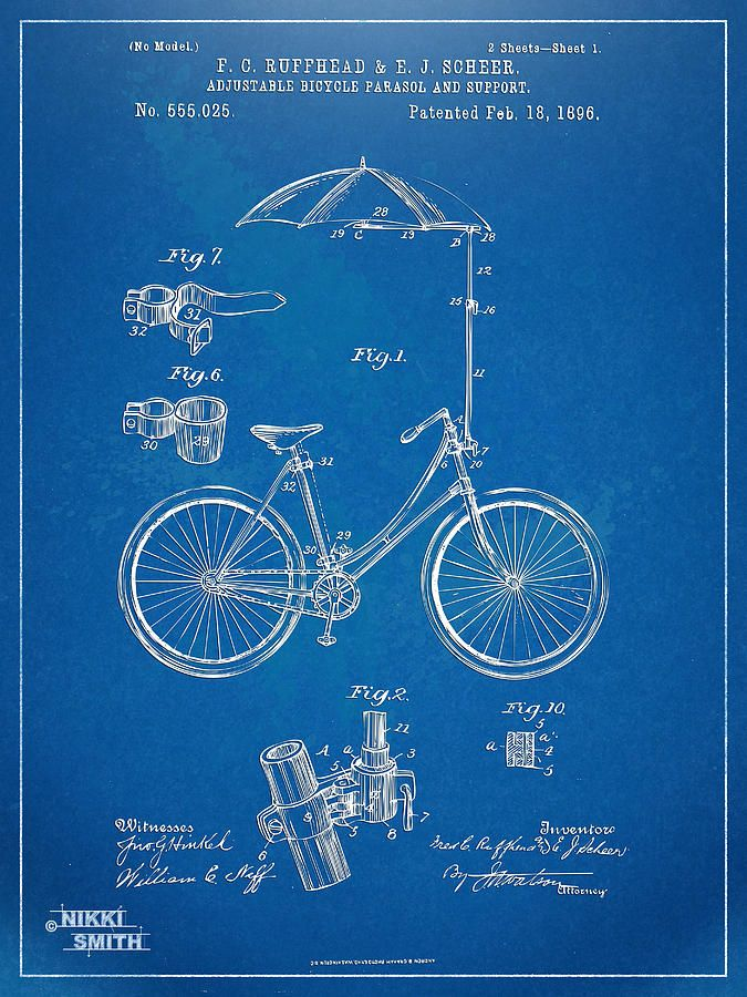 Vintage bicycle parasol patent artwork 1896 digital art vintage vintage bicycle parasol patent artwork 1896 digital art vintage bicycle blueprint malvernweather Images