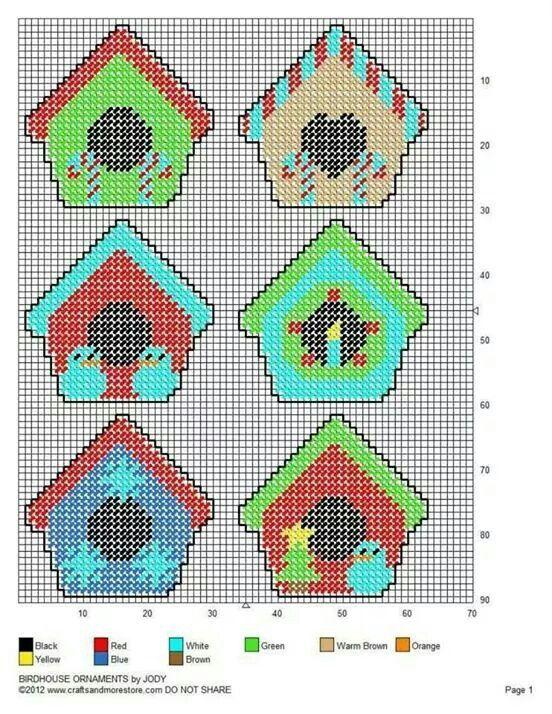 Birdhouse Ornaments Plastic Canvas Patterns Plastic Canvas