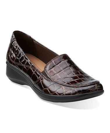 clarks brown croc gael angora leather loafer  leather