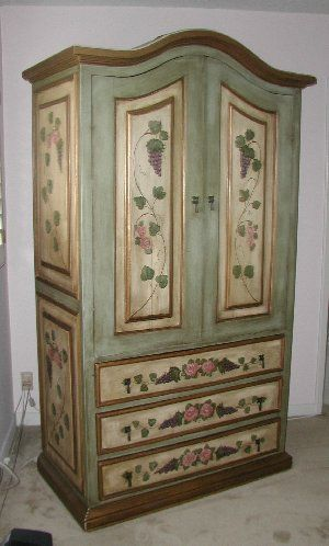 Ordinaire Painted Tv Entertainment Center | French Green Armoire With Pink Trim,  Lavender And Pink Roses
