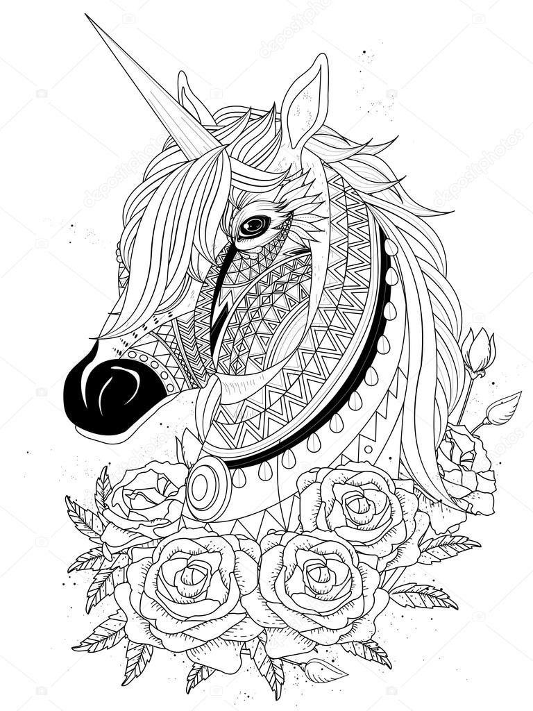 Heilige Unicorn Kleurplaat Stockvector C Kchungtw 103773362 Unicorn Paard Kleurplaat Kleurplaten Mandala Tekeningen Paarden