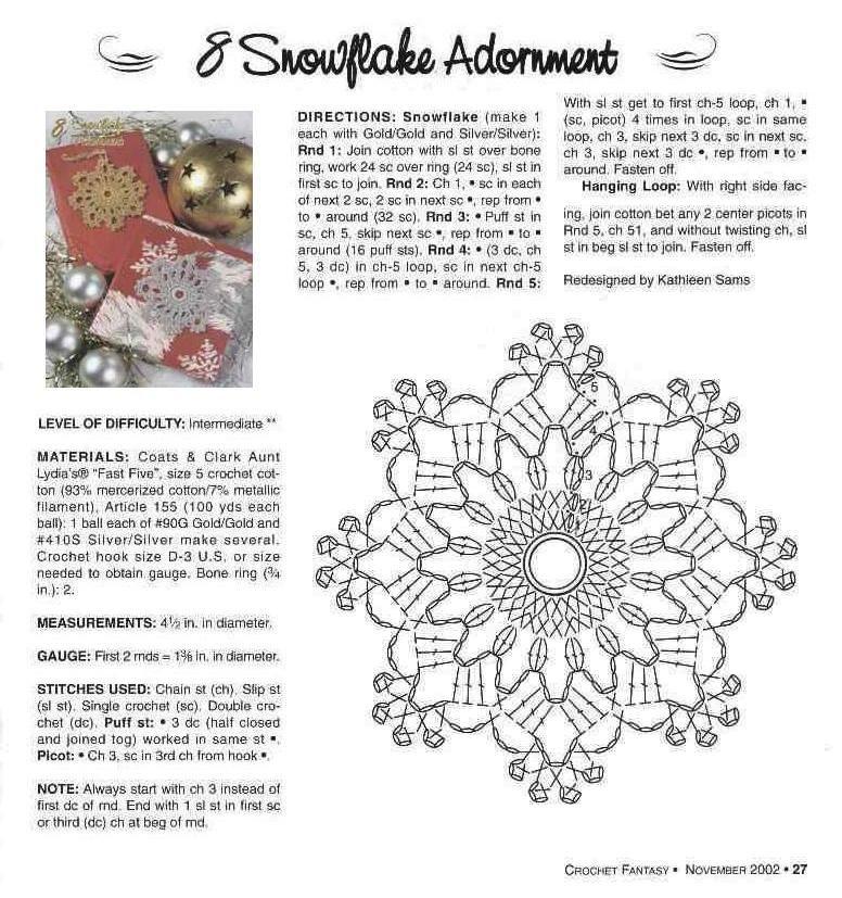 Esquemas de copos de nieve sexycrochet com navidad - Esquema punto estrella crochet ...
