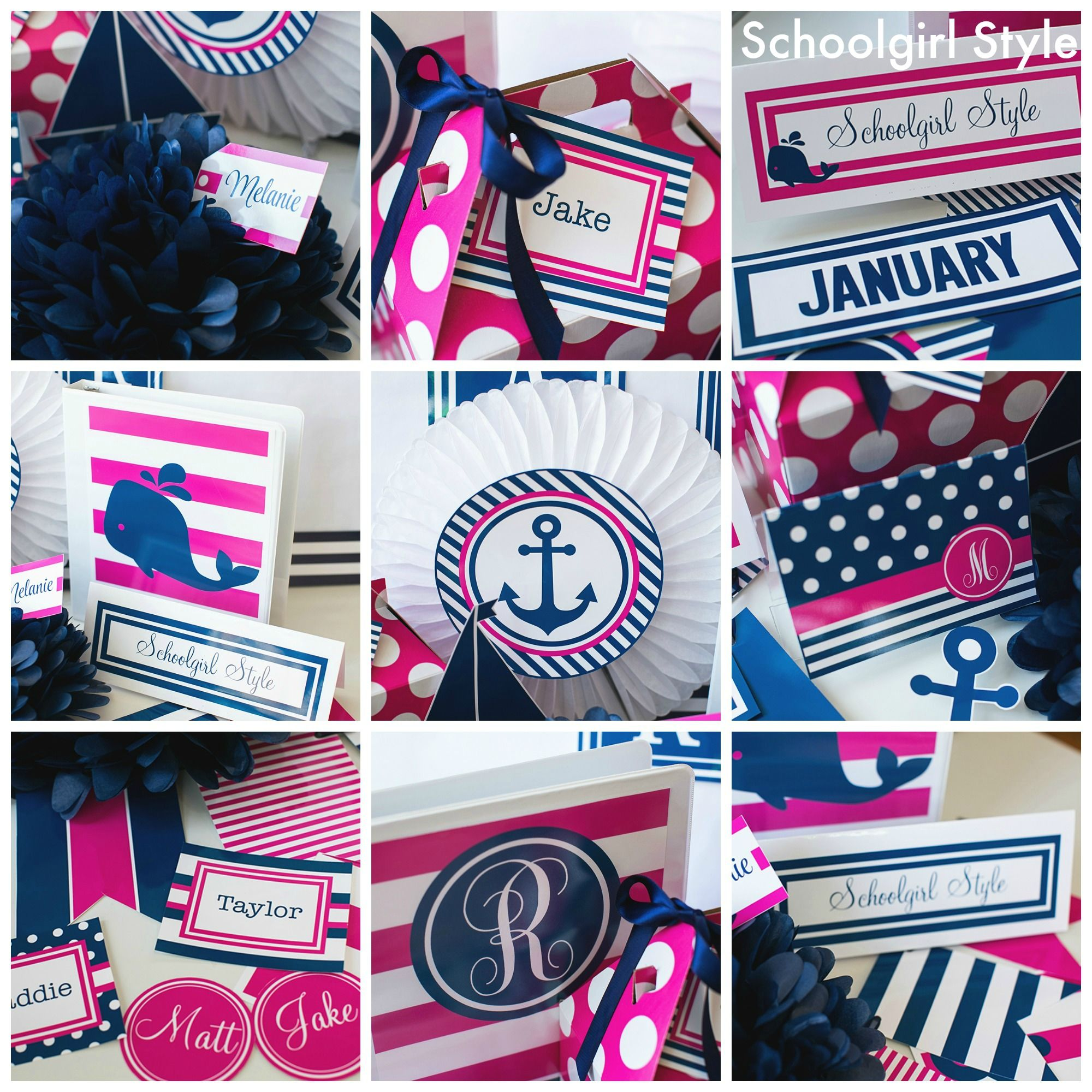 Navy Classroom Decor : Pink navy preppy monogram nautical classroom theme decor