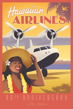 hawaii usa airline vintage travel A1 SIZE PRINT CANVAS art painting
