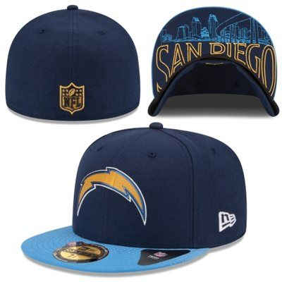 Men S San Diego Chargers New Era Navy Blue 2015 Nfl Draft On Stage 59fifty Fitted Hat Fitted Hats San Diego Chargers New Era
