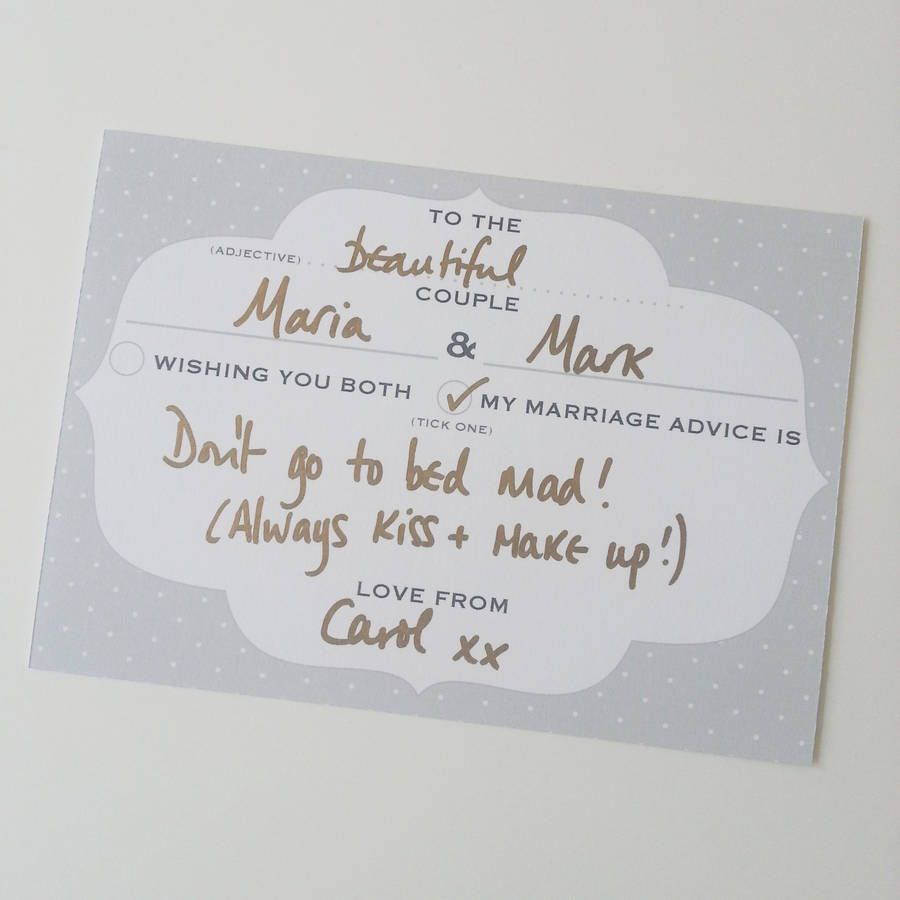 50 Personalised Wedding Advice Cards Frame Design