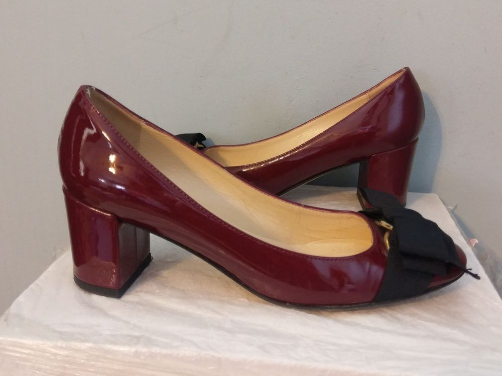 88551dab540 Kate Spade SIZE 5 Dijon Womens Leather Pumps MAROON WITH BLACK BOW Shoes  ITALY  KateSpade  PumpsClassics