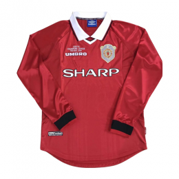 99 00 Manchester United Home Red Retro Long Sleeve Jerseys Shirt Manchester Unite Long Sleeve Jersey Shirt Soccer Jersey Soccer Shirts