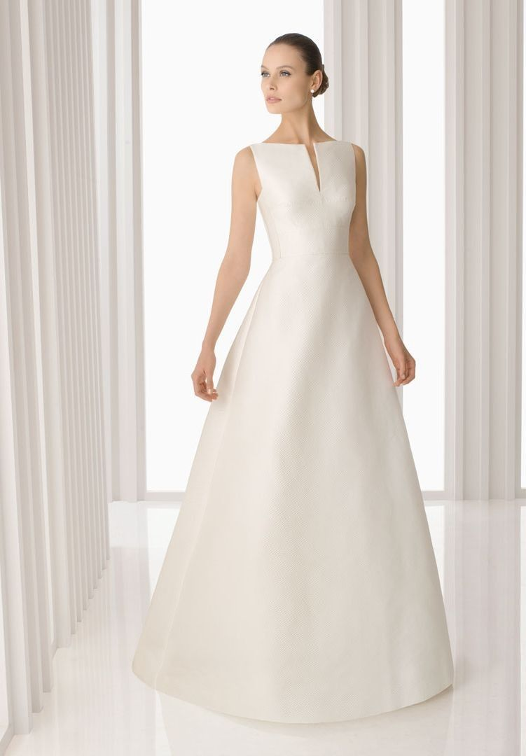 Simple Wedding Dresses Gt Satin Bateau A Line Simple