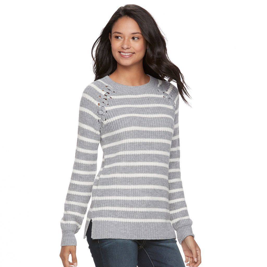 87e566470 Juniors' SO® Raglan Crewneck Sweater, Teens, Size: Medium, Grey (Charcoal)